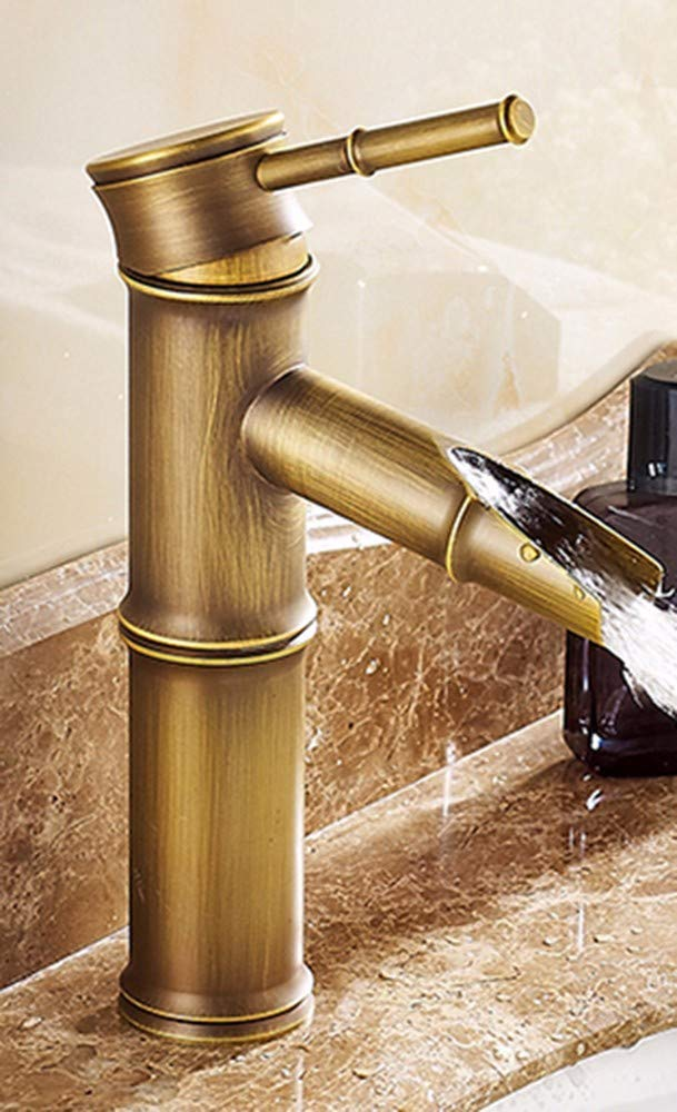 A Hlluya Professional Sink Mixer Tap Kitchen Faucet All copper single handle single hole Washbasin with hot and cold water faucets,M