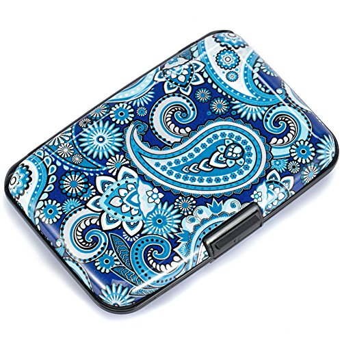 Elfish Mini RFID Aluminum Wallet Credit Cards Holder Metal ID Case for Men Women (2blue)