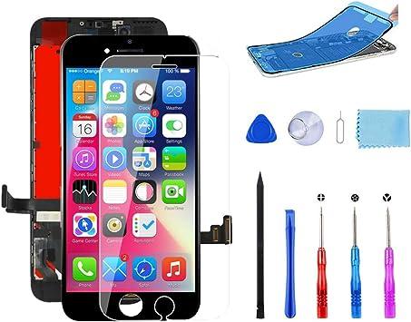 MeetDream Pantalla para iPhone 7 Negro,4.7 Pulgadas Pantalla táctil LCD y ensamblaje de Marco digitalizador con Kit de reparación Completo