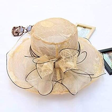 53cf1d6e5209f Amazon.com   2018 Elegant Fashion Women s lace Church Hats For Women Flower Hat  Summer Gorras Sun Hat Wedding Kentucky Derby Wide Brim Sea Beach (๕ color)  ...