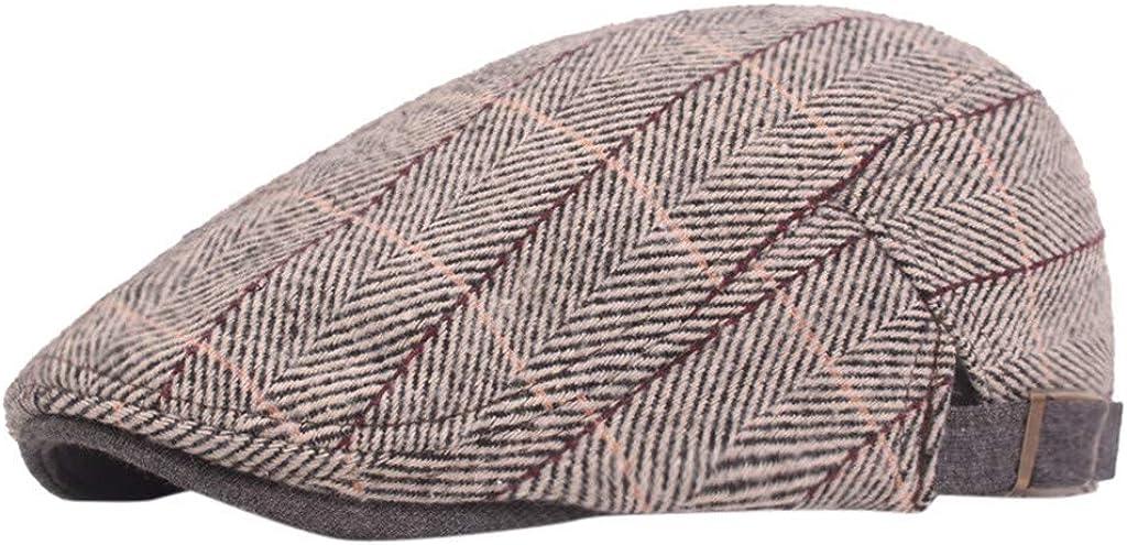 Men Women Soft Plaid Retro Hats Classic Herringbone Tweed Wool Blend Newsboy Ivy Hat Cabbie Driving Hat