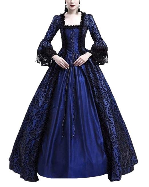 Liangzhu Mujer Encaje Costura Maxi Vestidos De Fiesta Partido Medieval Renacimiento Disfraz De Reina Elegante Vintage Cuello Cuadrado Cuerno Manga Vestido: ...