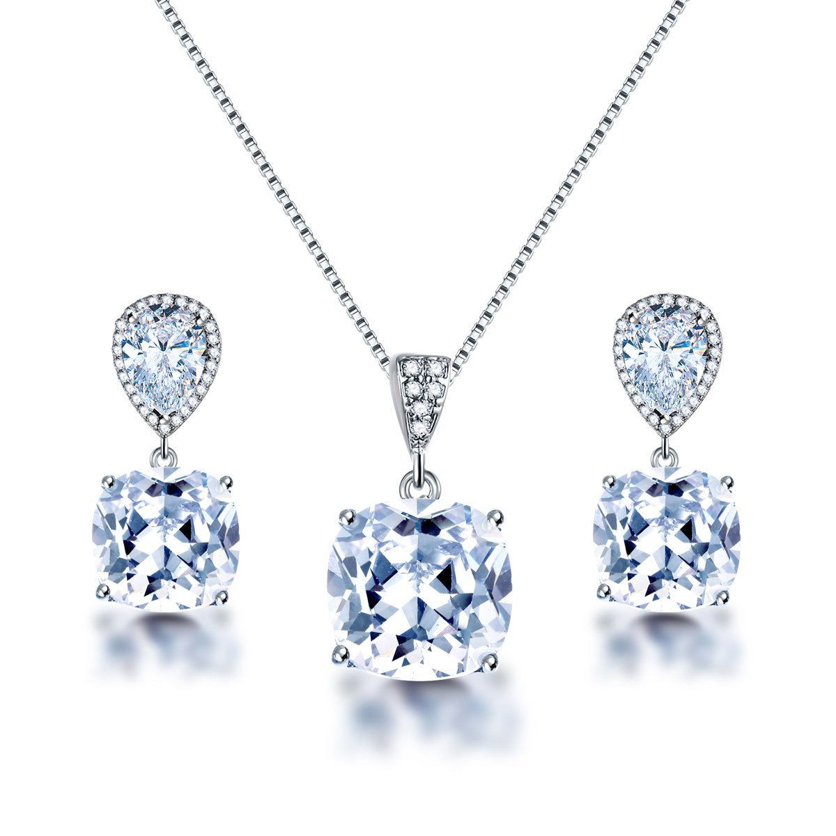 AMYJANE Elegant Jewelry Set for Women - Silver Teardrop Clear Cubic Zirconia Crystal Rhinestone Drop Earrings and Necklace Bridal Jewelry Sets Best Gift for Bridesmaids