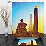 Vipsung Shower Curtain And Ground MatEiffel Tower Decor France Place De La Concorde Obelisk And The Eiffel Tower Landmark Of The CityShower Curtain Set with Bath Mats Rugs