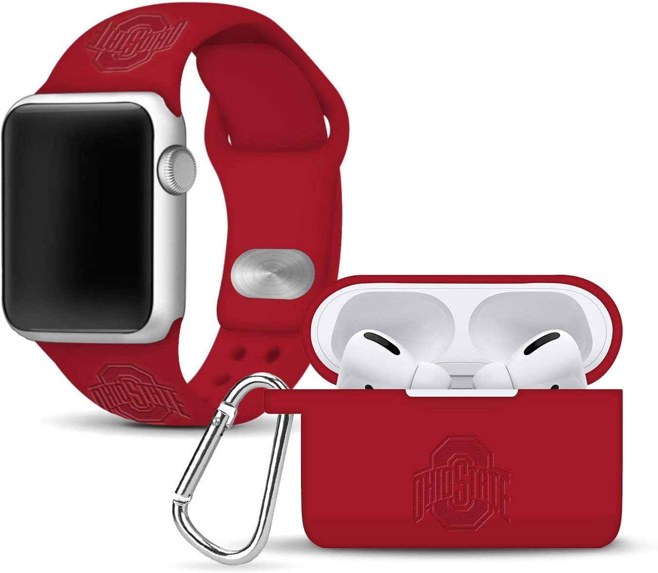 AFFINITY BANDS Ohio State Buckeyes Debossed Watch Band & Case Cover Combo Package Compatible with Apple Watch and AirPods PRO - 42mm/44mm Crimson/Crimson