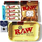 RAW SMALL ROLLING TRAY - 110mm RAW ADJUSTABLE Roller - RAW Organic King Size Slim Rolling Papers - Cut Nic Cigarette Filter - Doob Tube - RAW Cotton Filters - Bundle/Kit