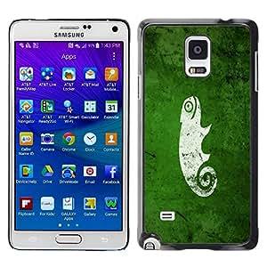Be Good Phone Accessory // Dura Cáscara cubierta Protectora Caso Carcasa Funda de Protección para Samsung Galaxy Note 4 SM-N910 // Funny Cute Green Nature Chameleon