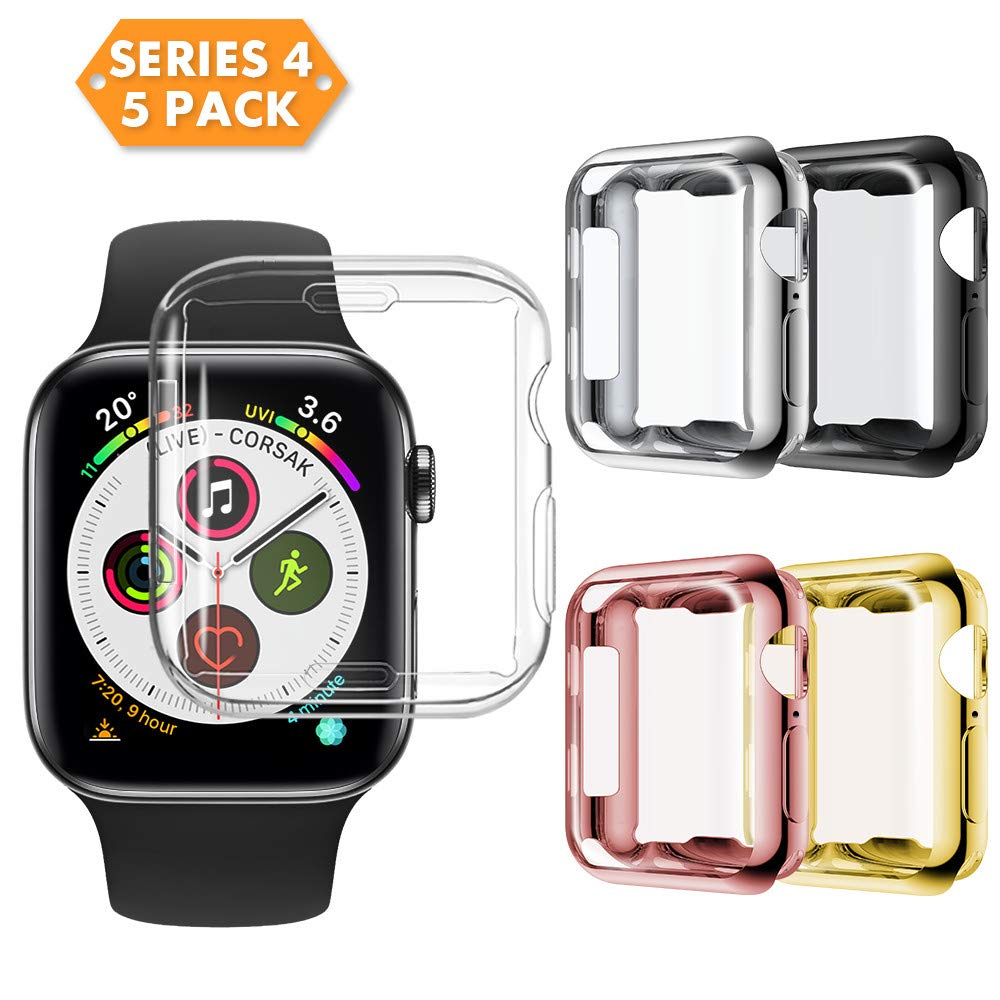 NotoCity Compatible Apple Watch Series 4 /Series 5 Screen Protector, 2018 New Overall Protective Case TPU HD Clear Ultra-Thin Cover Compatible Apple Watch Series 4 (5pcs, 44mm) by NotoCity