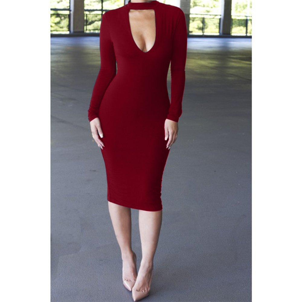 ALAIX Womens Keyhole Open-Chest Bodycon Long Sleeve Slim Party Evening Dress - White -: Amazon.co.uk: Clothing