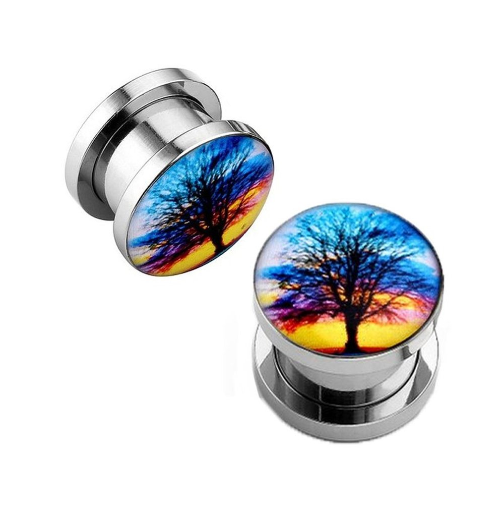 BodyJ4You Sunset Tree Branching Out Screw Fit Plugs Stainless Steel Double Flare Plugs 2G-00G PL6116-0G