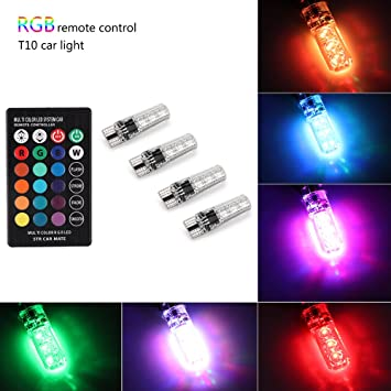 4 Pieces 194 LED Light Bulb,Leadtops T10 Car Lights RGB with Remote Control 194 168 501 for W5W Strobe Led Lamp 5050