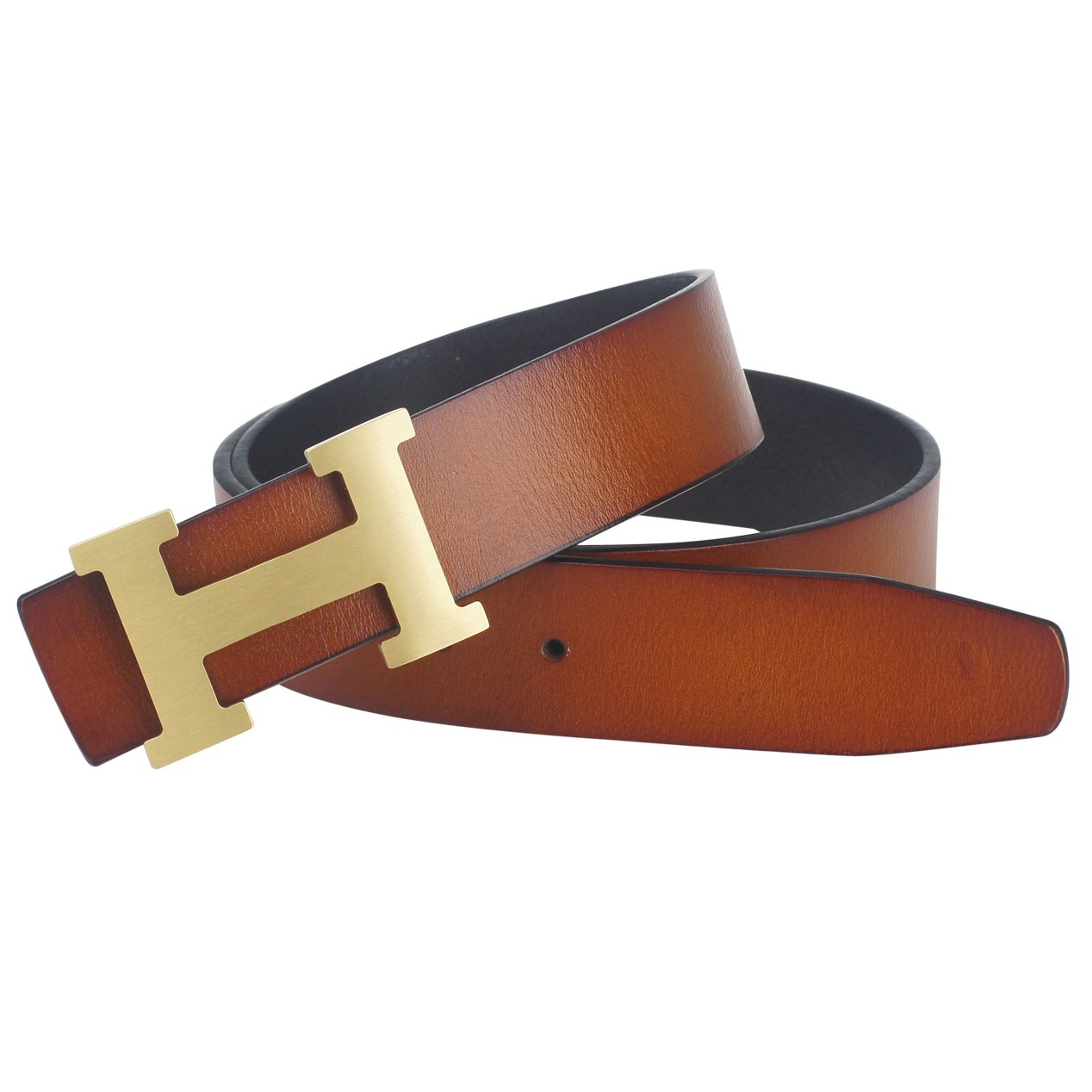 Men's Smooth Leather Buckle Bel Brown 36inch