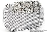 Dexmay Luxury Flower Women Clutch Purse Rhinestone Crystal Evening Bag for Wedding Party Silver