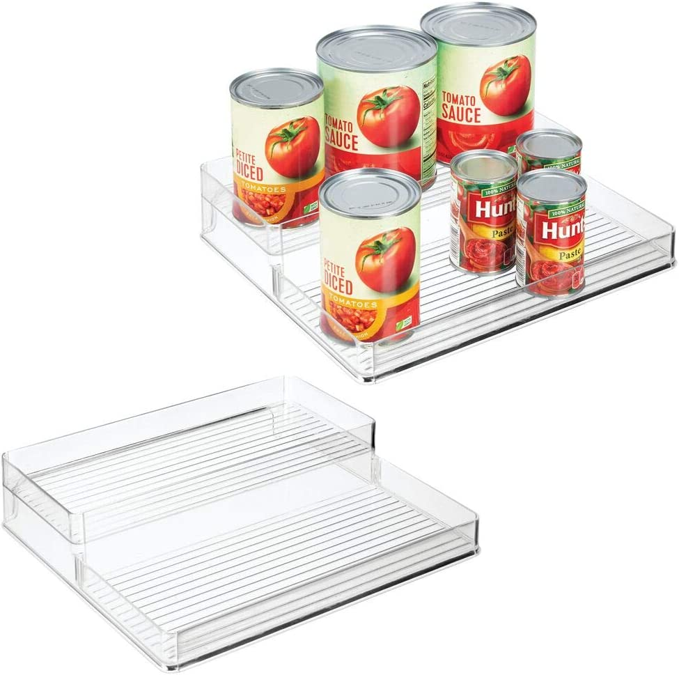 mDesign Plastic Kitchen Canned Food Storage Organizer Shelves, Holder for Cabinet, Countertop, Pantry - Holds Beans, Sauces, Tomato Paste, Vegetables, Soups - 2 Levels, 12