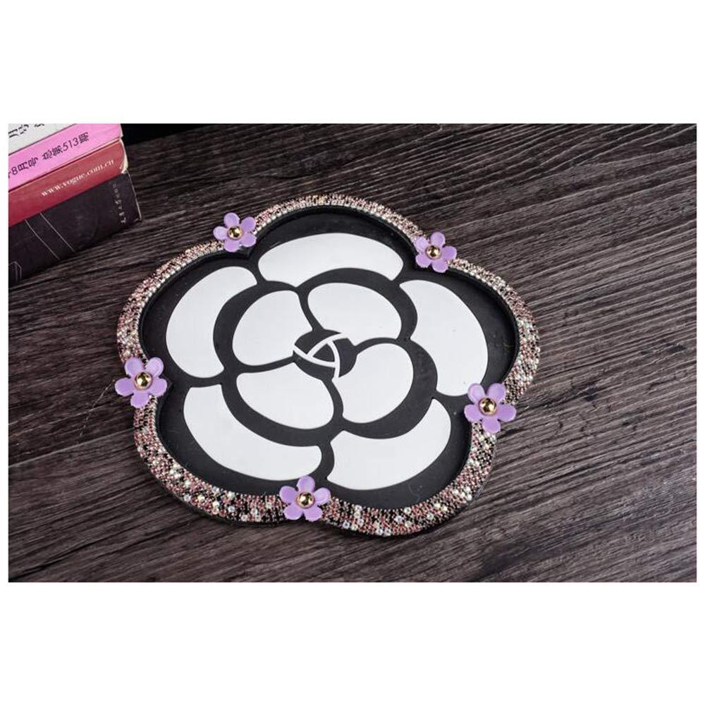 Siyibb Bling Rhinestone Anti-Slip Camellia Shape Car Dashboard Mat Pad with Daisy Decor - Purple