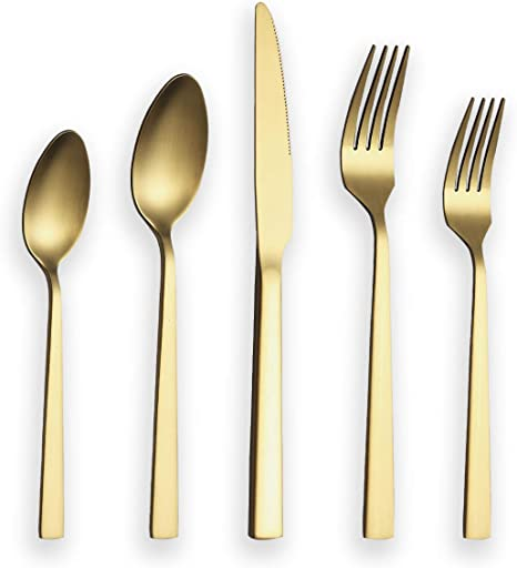 Berglander Silverware Serving Set 10 Pieces With Moon Surface Handle And Shiny Gold Head Titanium Plating Stainless Steel Modern Flatware Serving Set Serving Spoons Serving Utensils