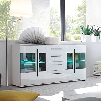 Pharao24 Wohnzimmer Sideboard in Weiß Hochglanz Glastüren LED ...