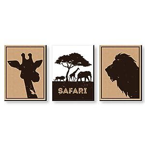 "Wild Safari - Jungle Animal Nursery Wall Art, Kids Room Decor & Home Decorations - 7.5"" x 10"" - Set of 3 Prints"