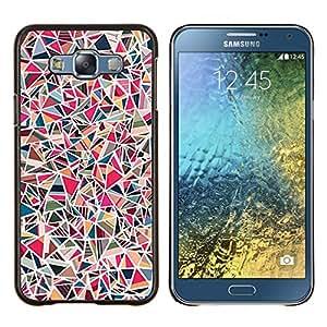 TaiTech / Prima Delgada SLIM Casa Carcasa Funda Case Bandera Cover Armor Shell Wood Texture - Líneas del arte abstracto del rosa Mosaique - Samsung Galaxy E7 E700