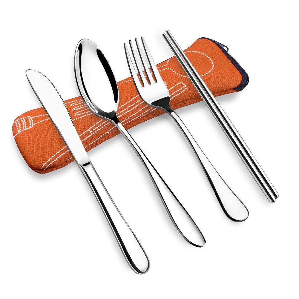 vicbay 4ピースステンレススチールFlatwareセットナイフフォークスプーン箸セット、旅行、キャンピングカトラリーセットネオプレンのケース、再利用可能なランチボックス食器、ポータブル旅行Silverwareセット B01N0ZAM3X オレンジ オレンジ