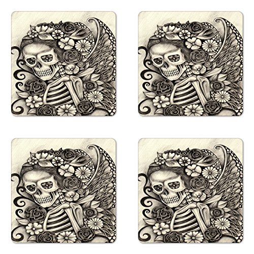 Lunarable Day of the Dead Coaster Set of 4, Spanish Mexican Festival theme Skeleton Girl with Flowers Print, Square Hardboard Gloss Coasters for Drinks, Beige and Dimgrey -