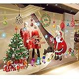 OZL Christmas Living Room Xmas Santa Claus Snowman Elk Wall Stickers Window Decor (Multicolor)