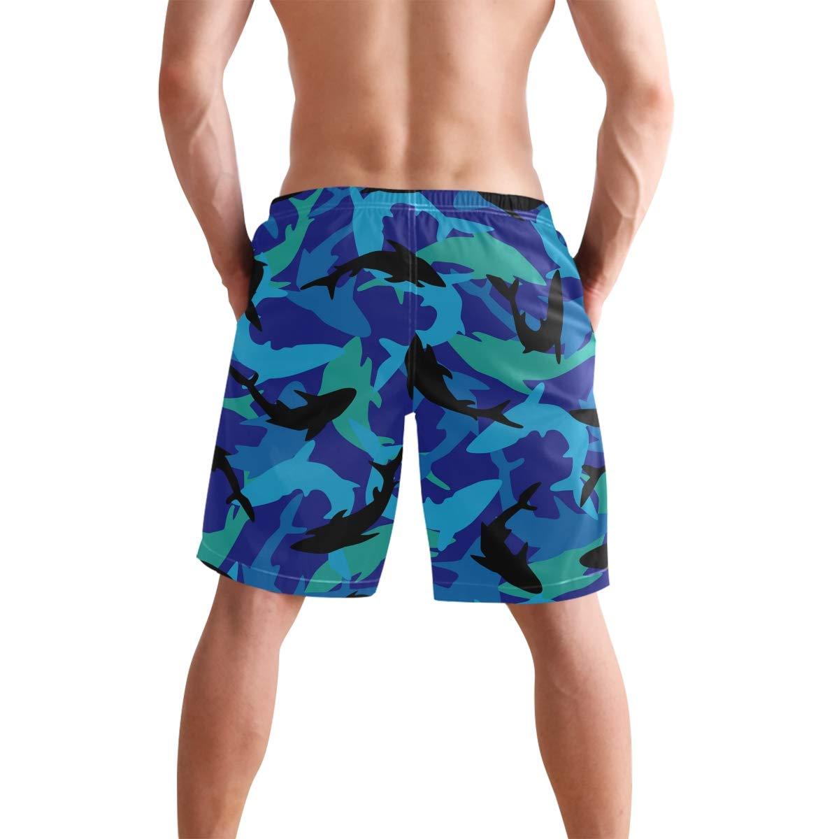 Mens Swim Trunks Sharks Pattern Black Green Blue Drawstring Boardshorts
