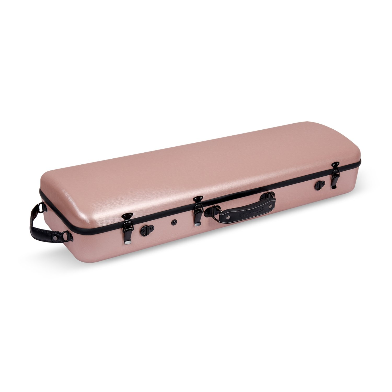 Crossrock Oblong Violin Case, Strong Poly Carbon Composite,Fit for 4/4 Full Size Violin,Rose Gold