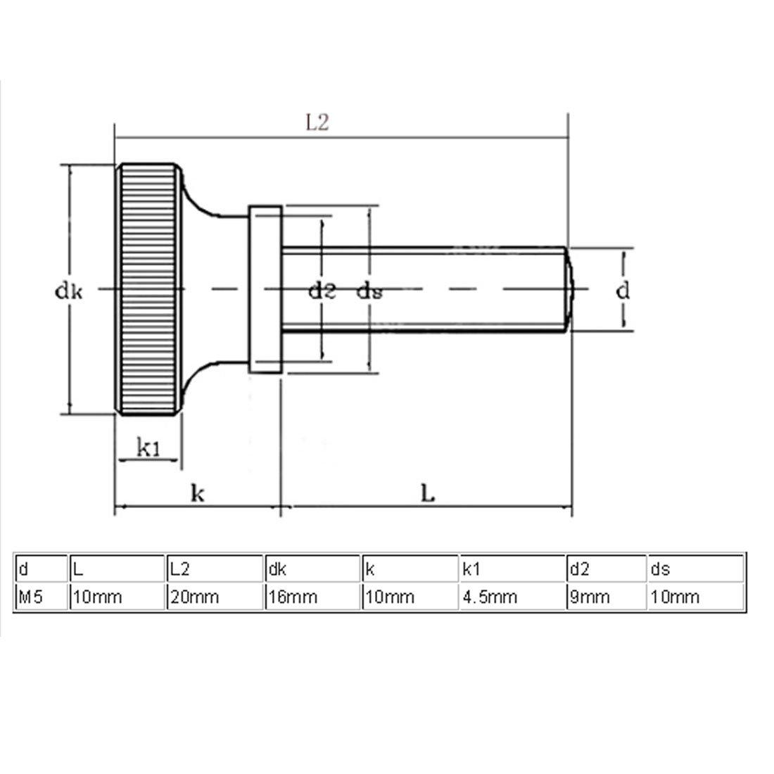 SOURCING MAP sourcingmap M5x10mm planas con estr/ías cabeza tornillos de apriete manual con rosca Tornillos de Sujeci/ón 8pcs