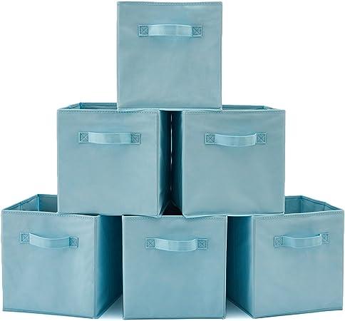 EZOWare Caja de Almacenaje con 6 pcs, Set de 6 Cajas de Juguetes, Caja de Tela para Almacenaje, (Azul Claro): Amazon.es: Hogar