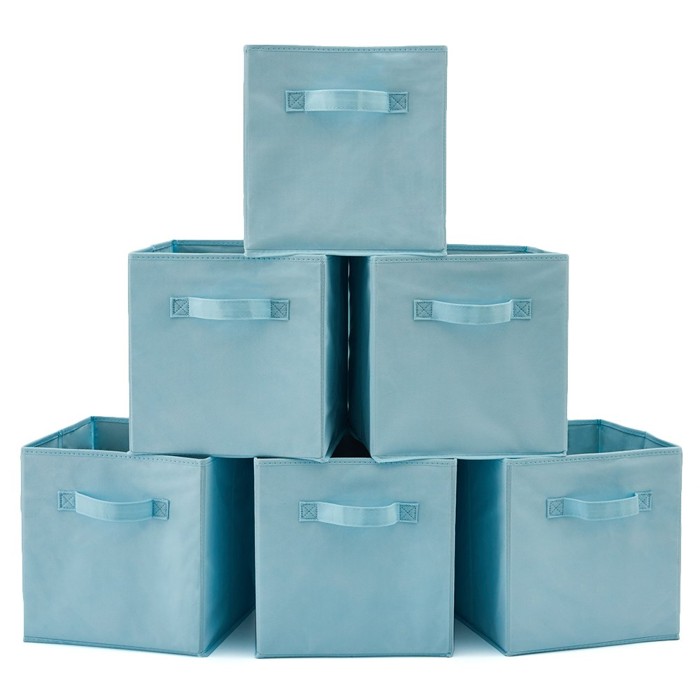 Set of 6 Foldable Fabric Basket Bin, EZOWare Collapsible Storage Cube for Nursery Home and Office (Light Blue) product image