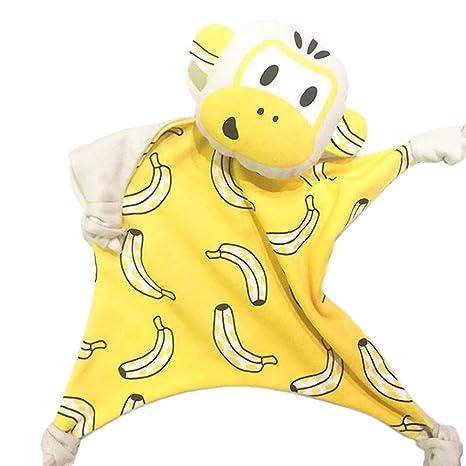 Xocity Unisex Bebé Mono Banana colcha juguete dormir toalla muñeca Banana monkey Talla:29*