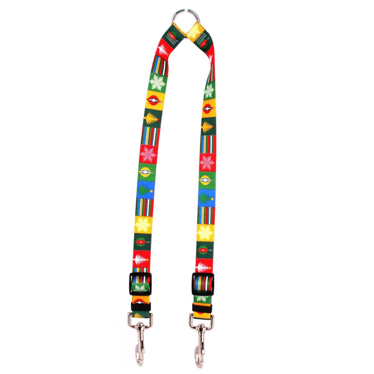 Large Yellow Dog Design Holiday Blocks Coupler Dog Leash 1  Wide And 12 To 20  Long, Large