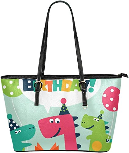Womens Leather Funny Dino Green Gift With Dots Handbag Satchel Tote Bag Tote Purse
