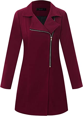 Ayans Women Long Sleeve Open Front Warm Zipper Jacket Coat with Pockets