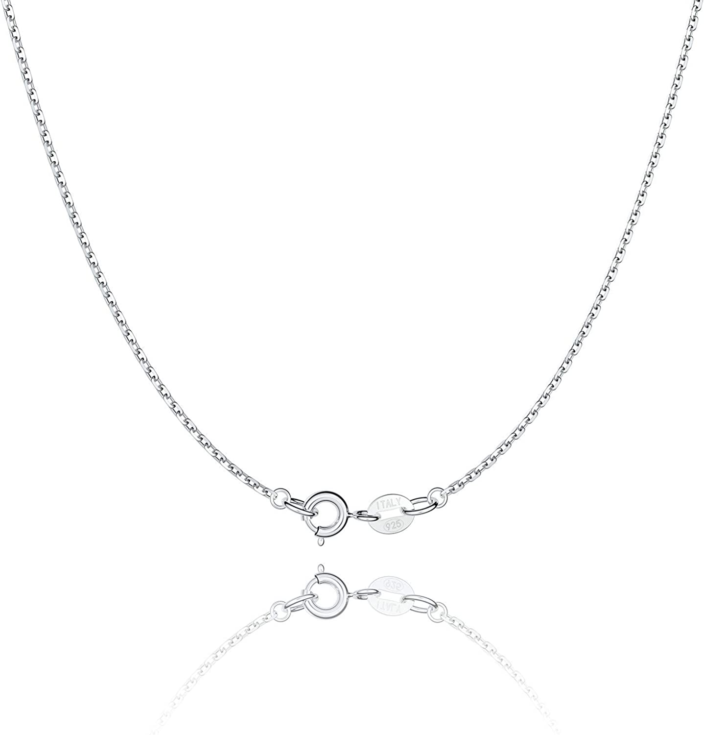 Jewlpire 925 Sterling Silver Chain Necklace Chain for Women Girls 1.1mm Cable Chain Necklace Upgraded Spring-Ring Clasp - Thin & Sturdy - Italian Quality 18 Inch: Jewelry