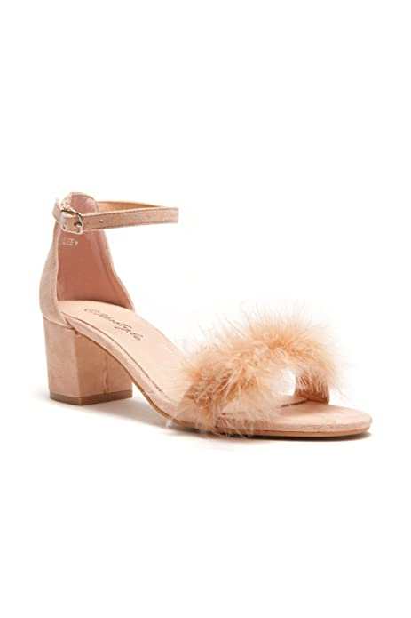 6d0fdf01090c3 Herstyle Women's Brenleey. Suede faux feather, accent ankle strap