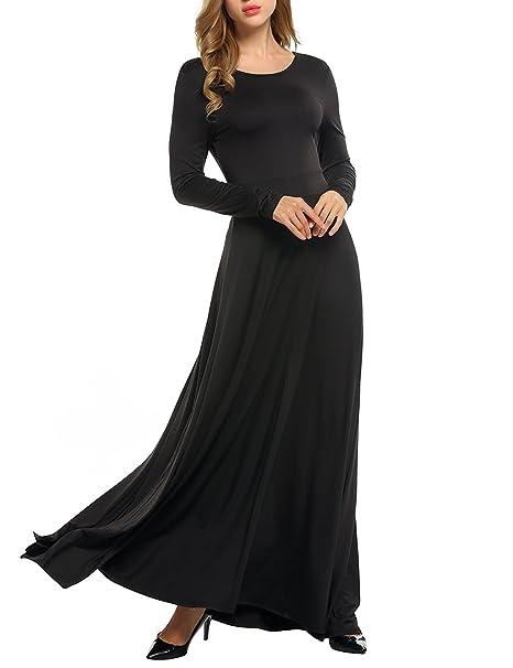 GAMISS Mujer Bohemio Maxi Vestido Fiesta Vestidos Mangas Largas con Cintura Elástico Dress XL