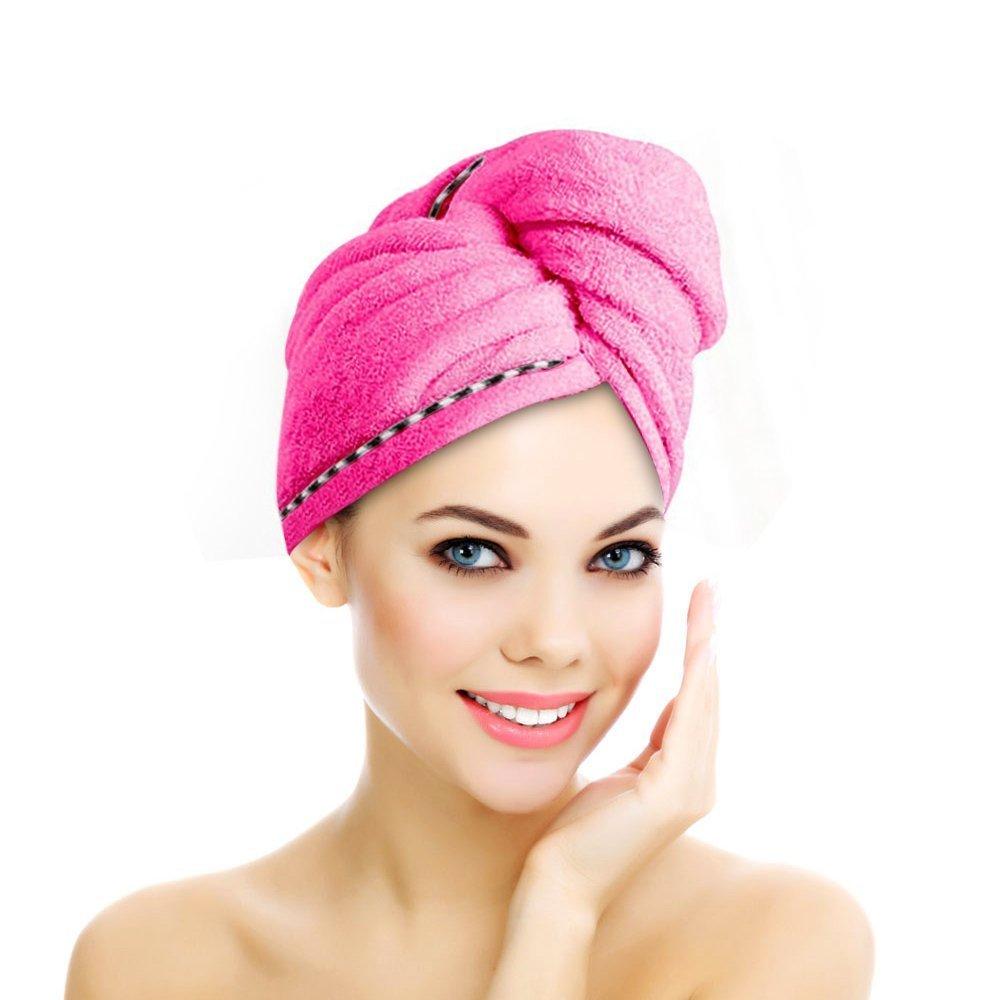 Jack & Rose Haar Turban Handtuch Haartrockentuch Kopftuch Duschhauben Haar Punzel Zuknöpfen saugfähigen Tuch Leichte Mikrofaser weiche Faser 60 * 25 cm Hellblau