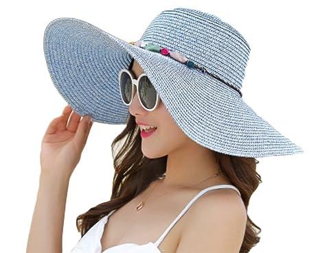 forme élégante enfant Vente de liquidation 2019 Outflower Chapeau d'été Dame Bord de mer Plage extérieure Chapeau de Soleil  Large-côté Pliable Chapeau de Paille Soleil