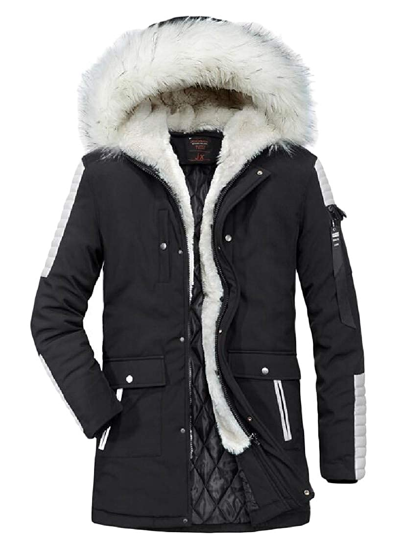 Pandapang Mens Faux Fur Collar Coat Thick Quilted Casual Outwear Parkas Jackets