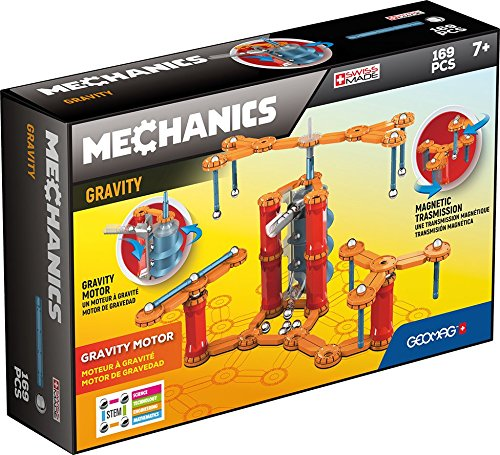 Geomag - MECHANICS GRAVITY MOTOR - 168-Piece Building Set with Magnetic Motion, Certified STEM Marble Run Construction Toy for Ages 7 and Up