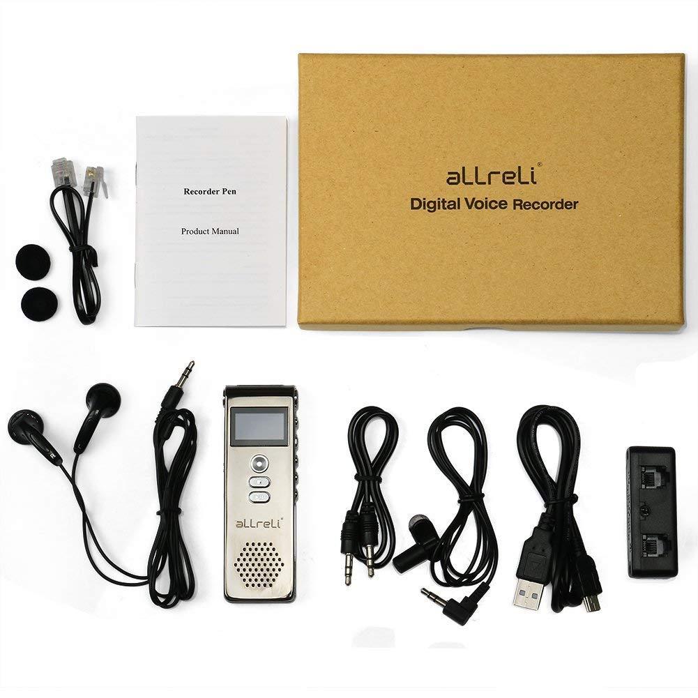 Digital Voice Recorder aLLreLi 8GB Digitales Diktierger/ät SPY Audio Recorder MP3 Player f/ür Aufnahme Interviews Meetings und Studenten lernen Grau