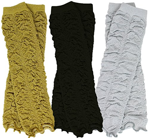 juDanzy 3 Pair Baby Girl Leg Warmers Black,Silver and Gold Ruffle (One -