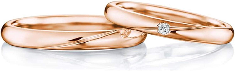 Epinki Anillo Oro Rosa 18k Pulido Línea Diamante 0.04ct Anillos de Boda