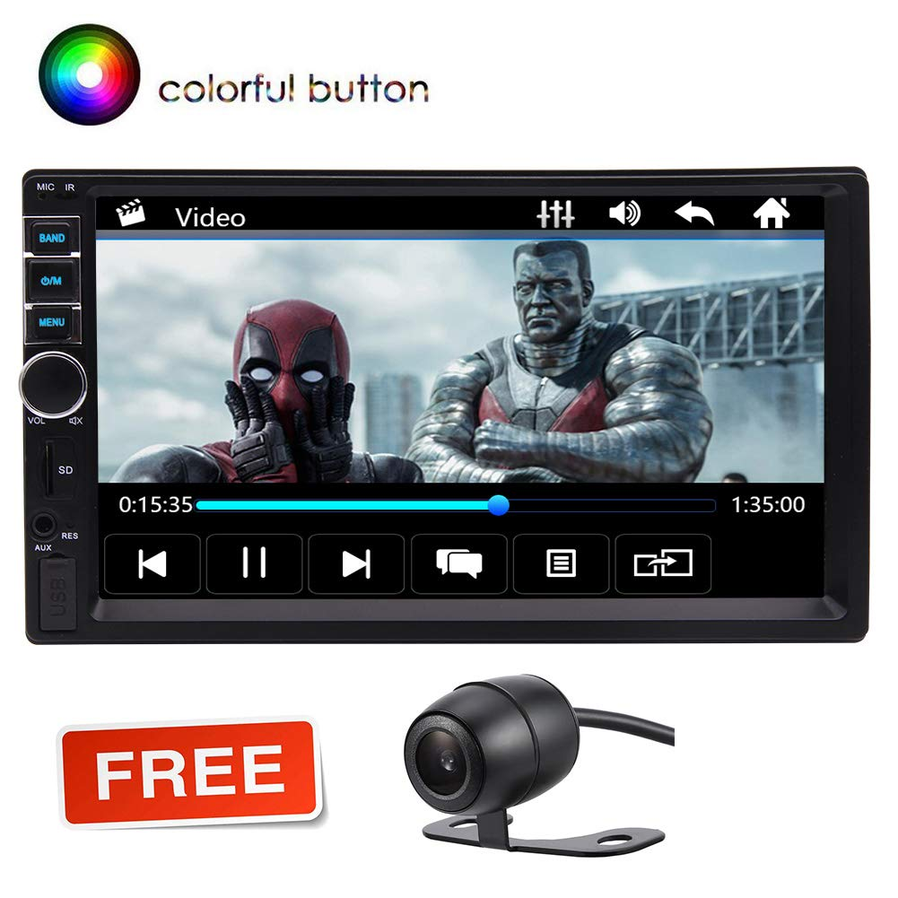 Double Din Car Stereo 7 Inches Touch Screen Car Radio MP5 MP3 Player in Dash Autoradio Head Unit,Supports Bluetooth//FM//Rear Camera//USB//TF//SWC//Multi Button Colors with Remote Control