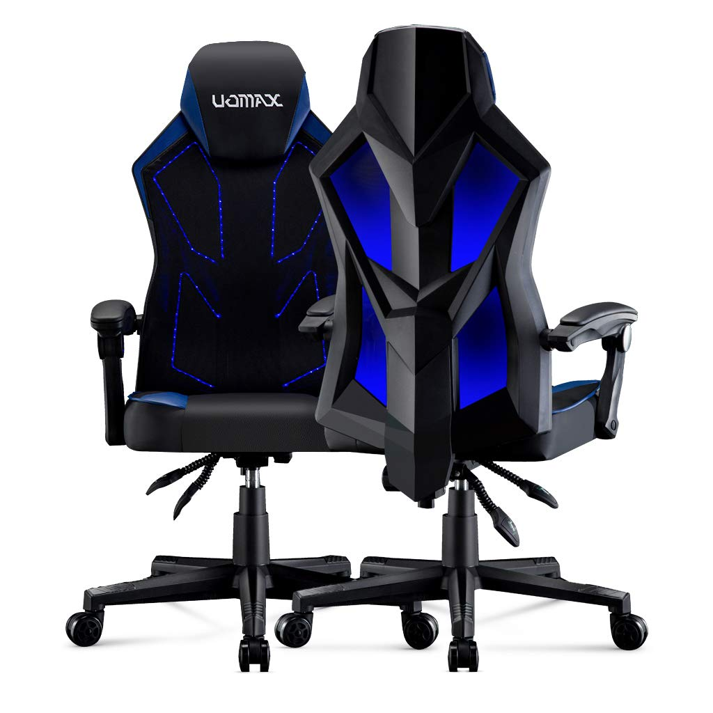 UOMAX Gaming Chair, Reclining Racing Chair with LED Lights, Ergonomic Computer Chair with Lumbar Support, Adjustable PC Gamer Chair with Mesh Back Blue