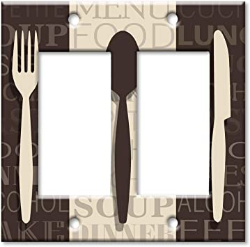 Art Plates 2 Gang Rocker Decora Oversize Switch Plate Over Size Wall Plate Fork Knife And Spoon Amazon Com