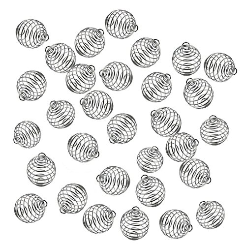 - JIALEEY Spiral Bead Cages Pendants, 20 PCs 14x15mm Silver Plated Stone Holder Necklace Cage Pendants Findings for Jewelry Making and Crafting