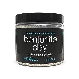 Bentonite Clay Food Grade Organic - 1 LB, Internal Detoxifying Bentonite Clay Powder - Facial Mask, Pore Minimizer | Spark Naturals - Internal Detox, Face Care, Masks, Deep Cleansing, Armpit Detox